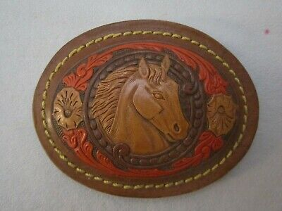 "Horse Head Belt Buckle Leather over Metal Tooled Inlay. 3"" x 4"". Vintage."