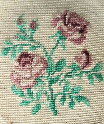 Vintage 1950s Pink Victorian Rose Floral Wall Art Finished Completed Needlepoint