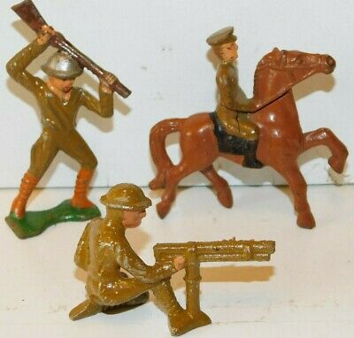 Old GREY IRON 1930s Dimestore Soldiers, Mounted Officer & 2 Infantrymen Fighting