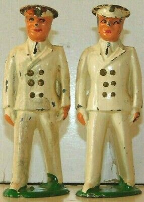 Old BARCLAY 1930s Lead Dimestore Soldiers, 2 Navy Ensigns With Tin Top Hats, B54
