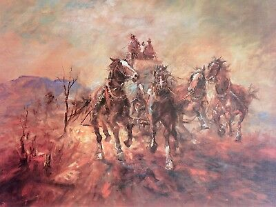 Hugh Sawrey, Fresh in the Traces, Horses in full Flight, Australian Landscape