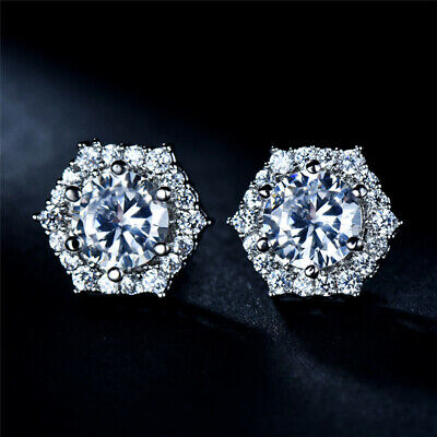 Elegant Round Cut White Topaz Hexagon Geometric Stud Earrings White Gold Jewelry