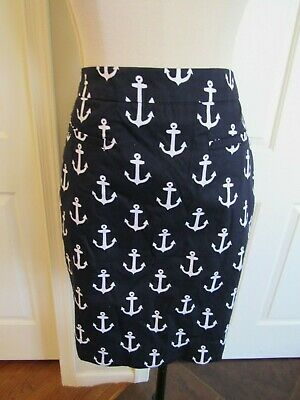NWT Hatley Women's Navy/White Anchor Print Lined Sateen Skirt US Size 6 $69