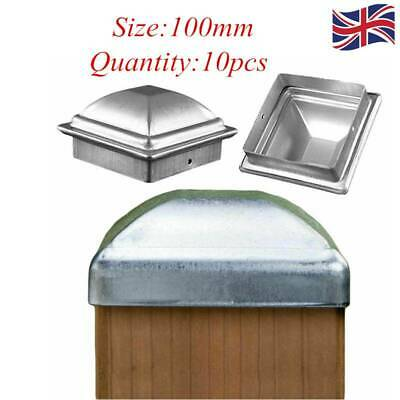 10x 80x80mm Metal Galvanised Fence Square Post Cap with Ball 80mm