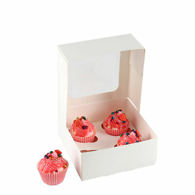 White Cupcake Boxes with Window and Insert Presentation Holds 4 Fairy Cup Cakes