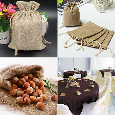 Small Burlap Jute Hessian Wedding Favor Jewellery Linen Bags Drawstring Pouches
