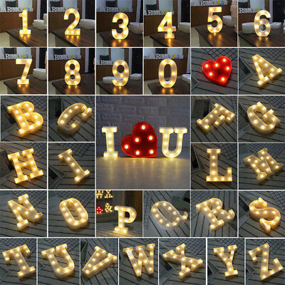 ALPHABET LETTER LED LIGHT UP NUMBERS WHITE PLASTIC LETTERS STANDING Sign Decor