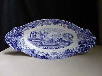 "Spode England Blue Italian 15.5"" Oval Bread Tray Serving Bowl Italy Scene Floral"