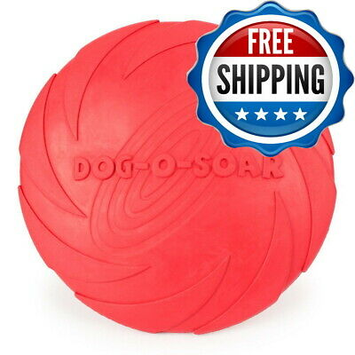 Dog Frisbee Toy , Red Flexible Disc Resistant Fetch Ruber Pet Durable Play 6""