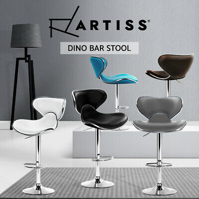 Artiss Bar Stools Kitchen Stool Leather Chairs Swivel Gas Lift Black White X2