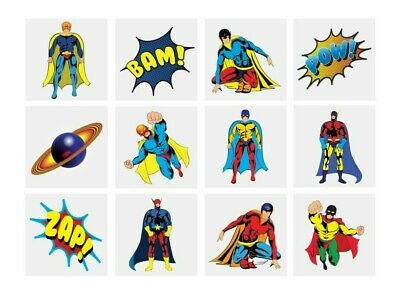 Super Hero Temporary Tattoos Ideal Party Bag Fillers Childrens Toy Game Prize