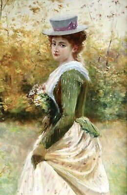 19th CENTURY FINE FRENCH OIL ON CANVAS - ELGENAT YOUNG GIRL GATHERING FLOWERS