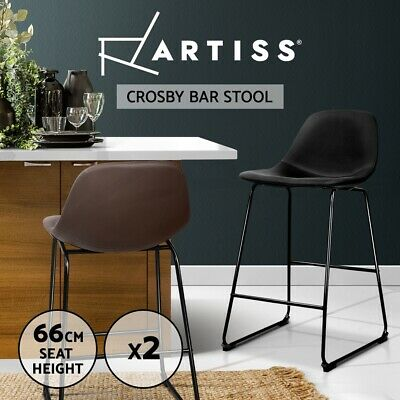 Artiss 2x Crosby Bar Stools Bar Stool Leather Chairs Kitchen Counter Black Brown