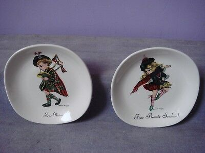 2 Vintage WEATHERBY & S0NS Ltd BROWNIE DOWNING Ceramics SCOTLAND Pin Dishes 60s