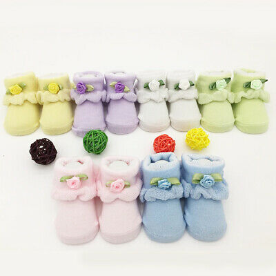 Newborn Kids Baby Girls Boys Anti-Slip Warm Cartoon Socks Slipper Shoes Boots