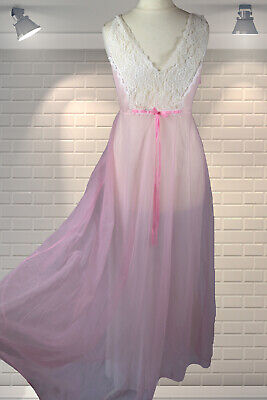 Vintage Pink Nylon Floaty Layered Long Full Sweep Night Dress Nightie Gown - S