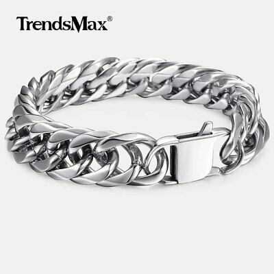 Mens 316L Stainless Steel Silver Tone Curb Cuban Link Rombo Chain Bracelet 15mm