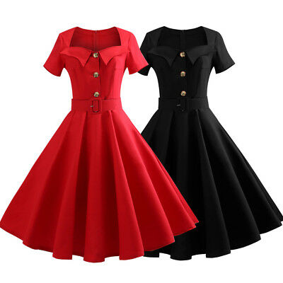 66c26b765e81 RED 50s Swing Rockabilly Pinup Vintage Party Housewife Cocktail Dress Plus  Size