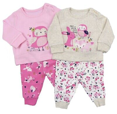 Baby Girls Pyjamas Two Pack Woodland Friends Mix And Match PJs Snuggle Fit
