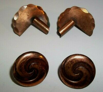Lot of 2 Pair Vintage Mid Century Solid Copper Screw Back Earrings