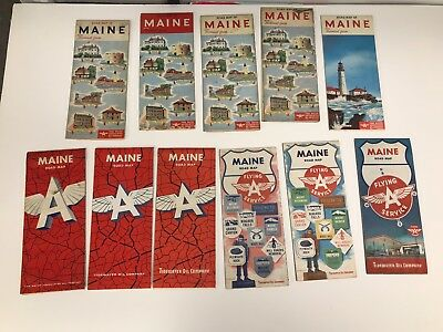 Lot Of 11 Vintage 1950'S/60'S Maine Flying A Road Maps