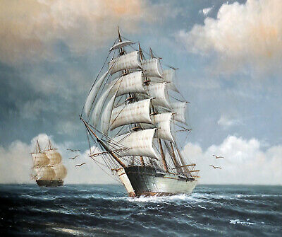 Sailing Ship Classic Vintage Style Ocean Seascape Stretched 20X24 Oil Painting