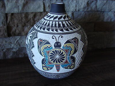Native American Acoma Pueblo Hand Etched Butterfly Pot by L.V
