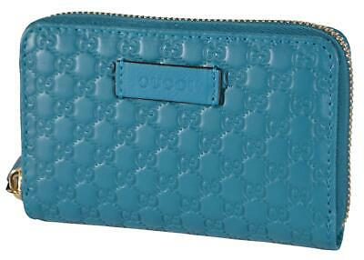 3f15de8e New Gucci 544249 Cobalt Teal Leather GG Guccissima Zip Around Card Case  Wallet