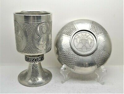 """+ Beautiful Antique Pewter Chalice and Paten Set + Hand Hammered + 8"""" ht (CU500)"""