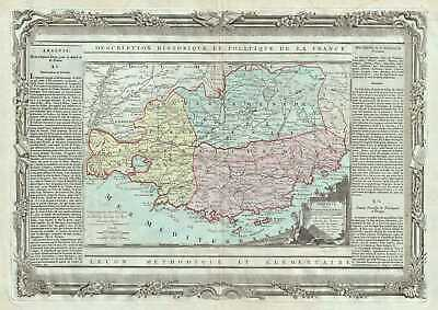1786 Desnos Map of the Provence Region of France (French Riviera)