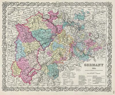 1856 Colton Map of Western Germany: Westphalia, Rheinland