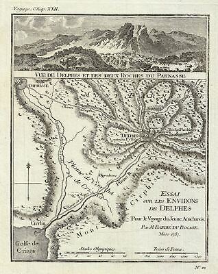 1787 Bocage Map or Plan of Delhpi, Ancient Greece