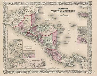1866 Johnson Map of Central America
