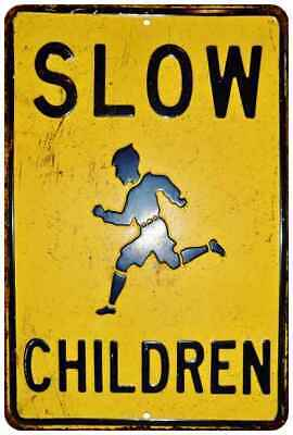 SLOW Children Playing Vintage Retro Reproduction 8x12 Metal Sign 108120067092
