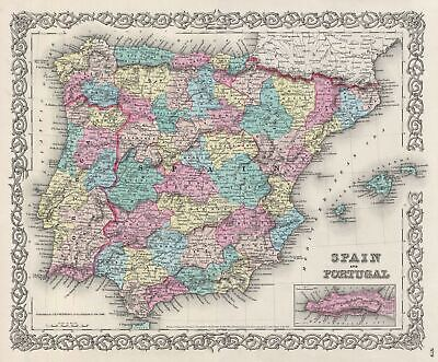 1856 Colton Map of Spain and Portugal