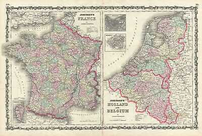 1861 Johnson Map of France, Holland and Bellgium