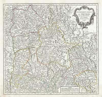 1751 Vaugondy Map of the Dauphine Region of France (French Riviera)