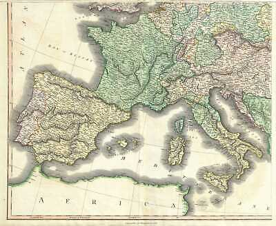 1817 Thomson Map of Spain, Portugal, France, Italy, Austria, and Germany