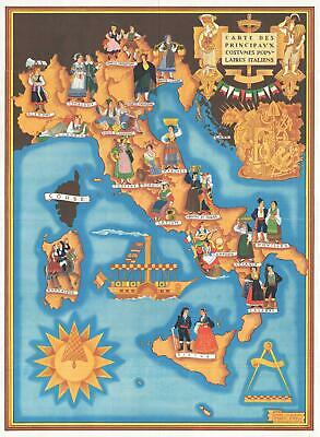 1934 Calderini and Zimelli Pictorial Map of Italy and Italian Folk Costumes