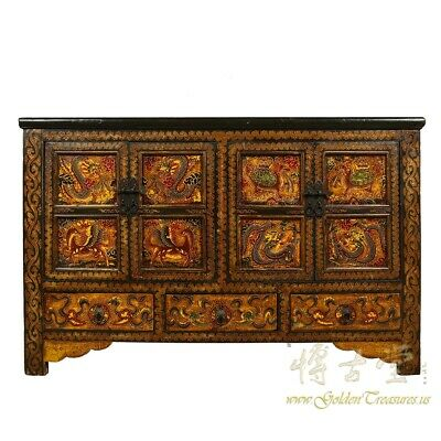 Antique Tibetan Painted Cabinet/Buffet Table