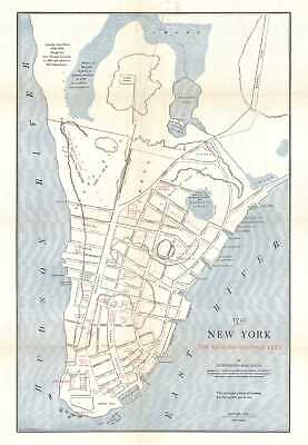 1909 MacCoun City Map or Plan of Colonial New York City in 1730