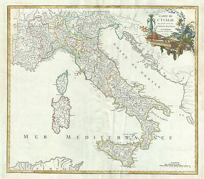 1756 Vaugondy Map of Italy w/Postal Routes