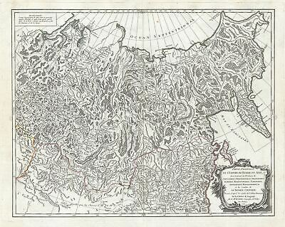 1750 Vaugondy Map of Eastern Russia, Siberia (Russian Empire)