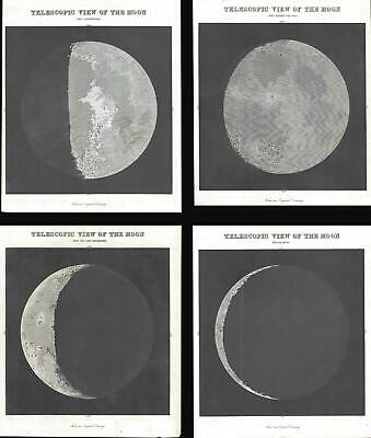 Set of Four 1845 Bradford Views of the Moon