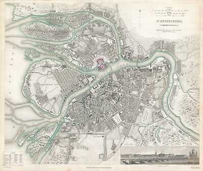 1834 S.D.U.K. Subscriber's Edition Map or Plan of St. Petersburg, Russia