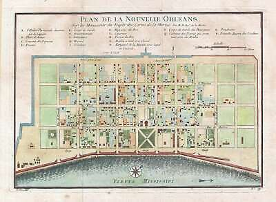 1744 Bellin Map or Plan of New Orleans, Louisiana