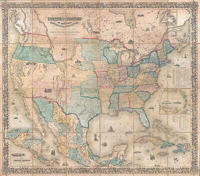 1853 Colton Case Map of the United States