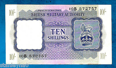 "EX RARE "" AUNC "" England M5 10 Shillings BRITISH MILITARY AUTHORITY WWII 1943"
