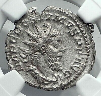 POSTUMUS Authentic Ancient 260AD Gallic Empire Silver Roman Coin NGC i77886
