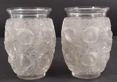 Pair Antique Authentic LALIQUE French Heavy Crystal Glass Love Birds Vases NR